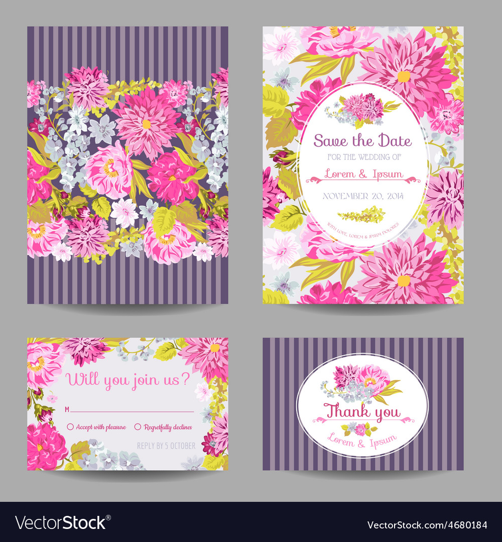 Invitation or greeting card set - for wedding vector | Price: 1 Credit (USD $1)