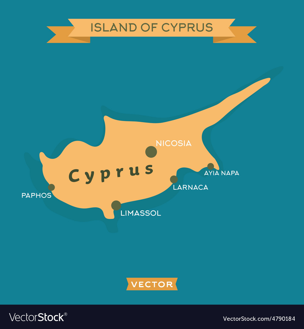 Island of cyprus with a mark cities on it vector   Price: 1 Credit (USD $1)