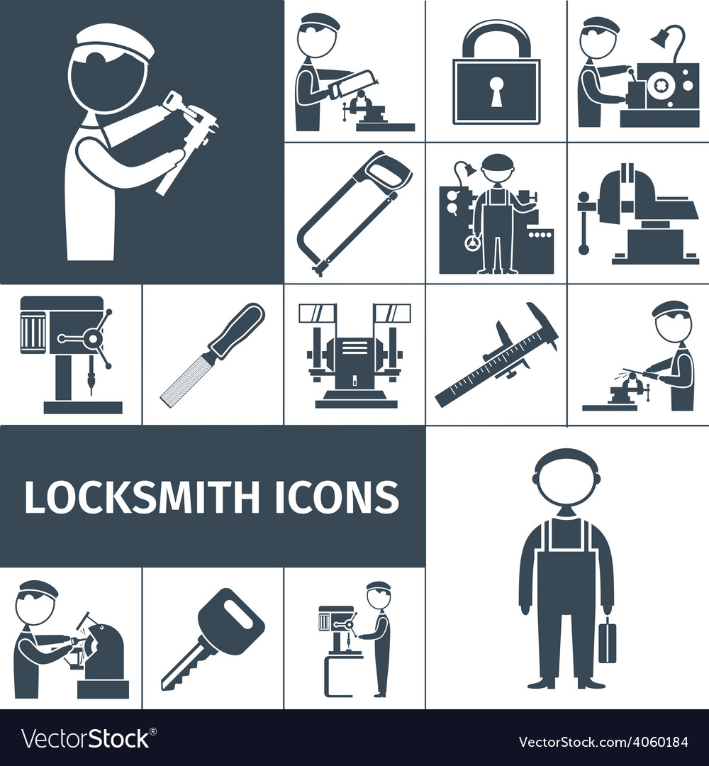 Locksmith icons black vector | Price: 1 Credit (USD $1)