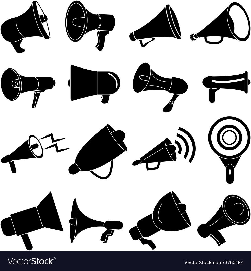 Megaphone speaker icons set vector | Price: 3 Credit (USD $3)