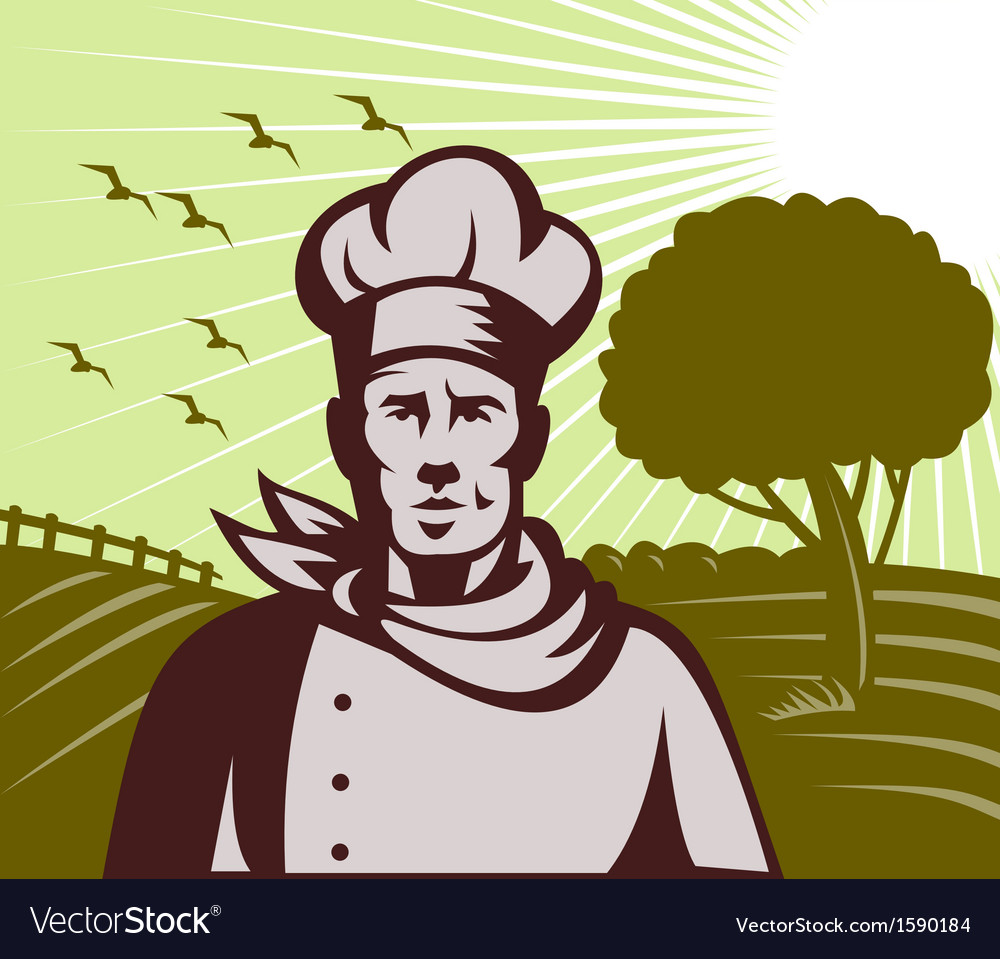 Organic baker chef or cook with farm in background vector | Price: 1 Credit (USD $1)