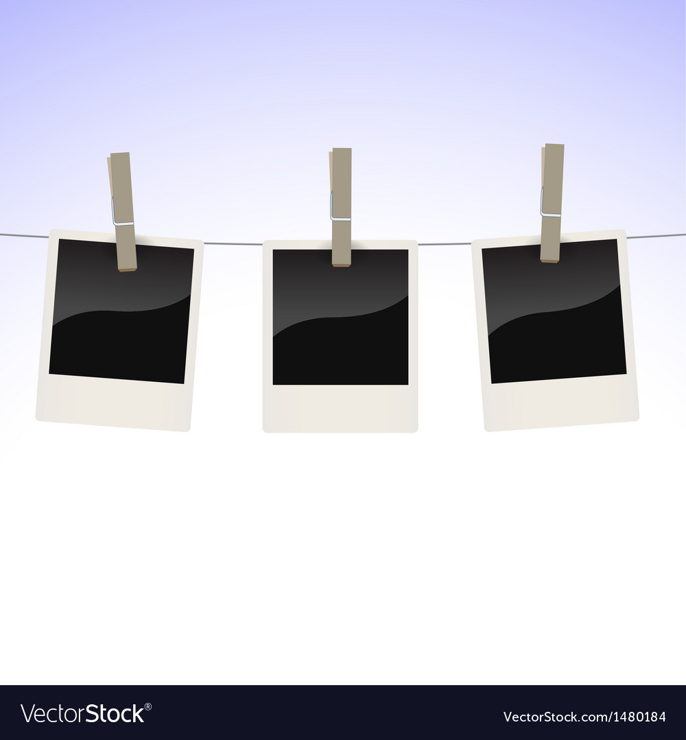 Photos on clothesline vector | Price: 1 Credit (USD $1)
