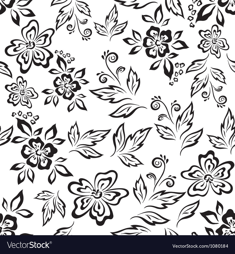 Seamless floral background outline vector | Price: 1 Credit (USD $1)