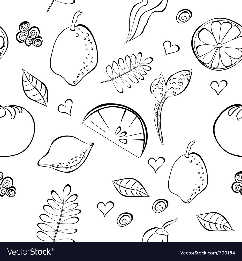 Seamless pattern with fruit and vegetable vector