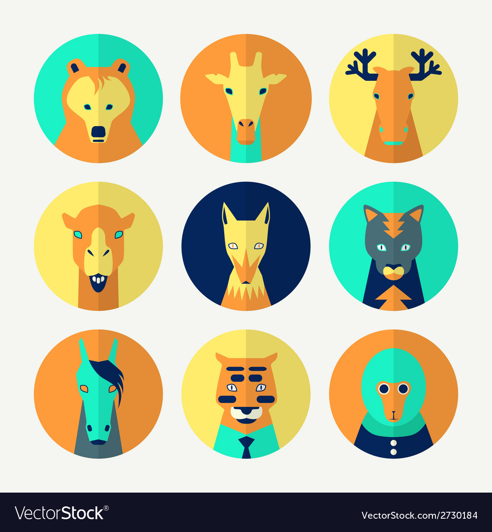 Set of stylized animal avatar vector | Price: 1 Credit (USD $1)