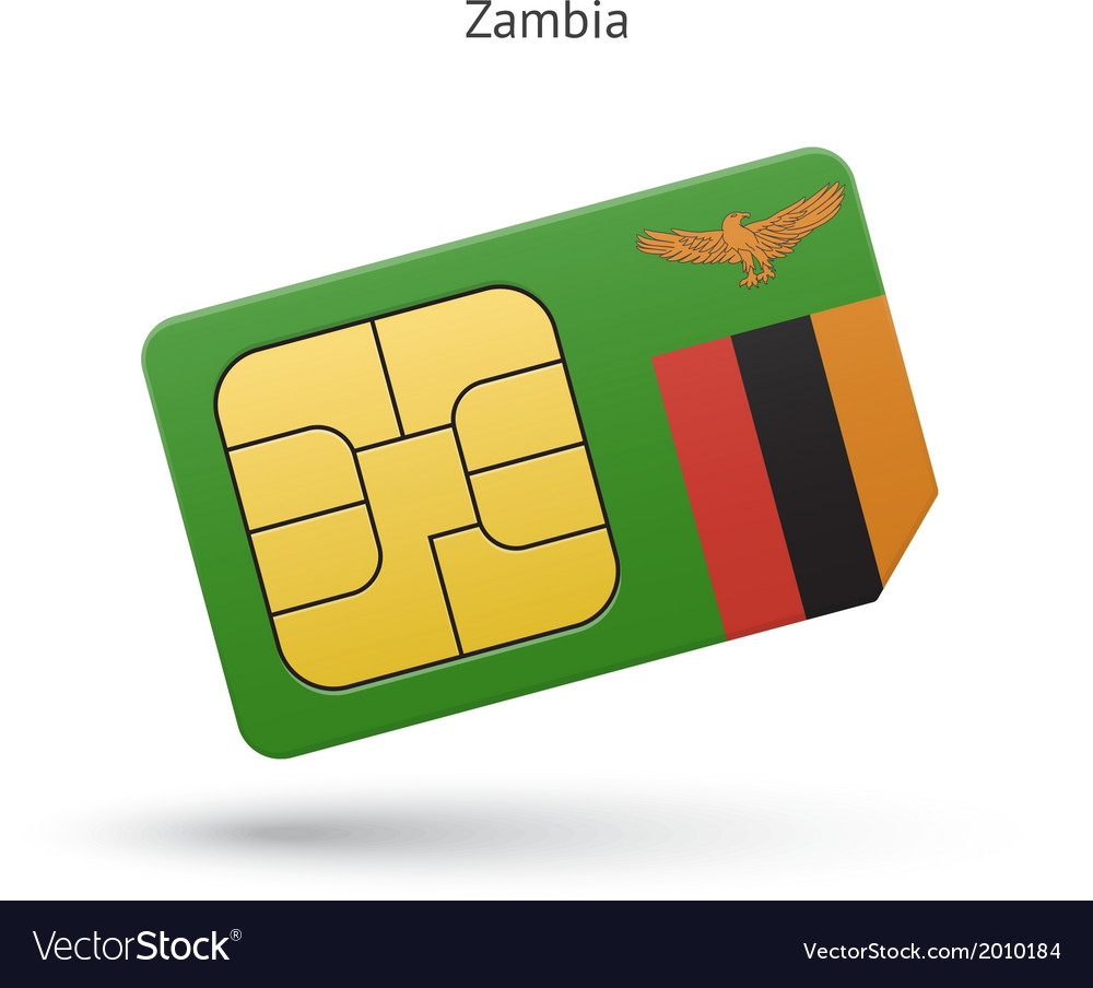 Zambia mobile phone sim card with flag vector   Price: 1 Credit (USD $1)