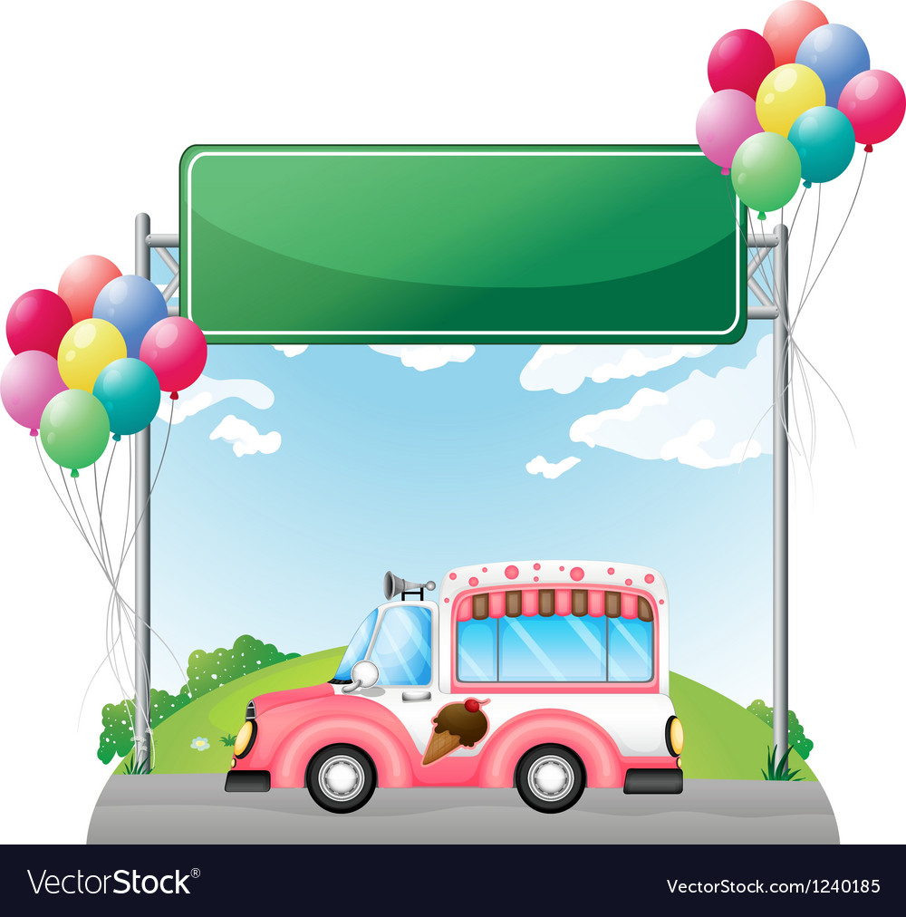 A pink ice cream bus near an empty green board vector | Price: 1 Credit (USD $1)