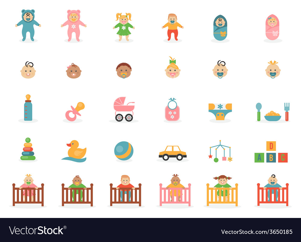 Babe icons for greetings card vector | Price: 1 Credit (USD $1)