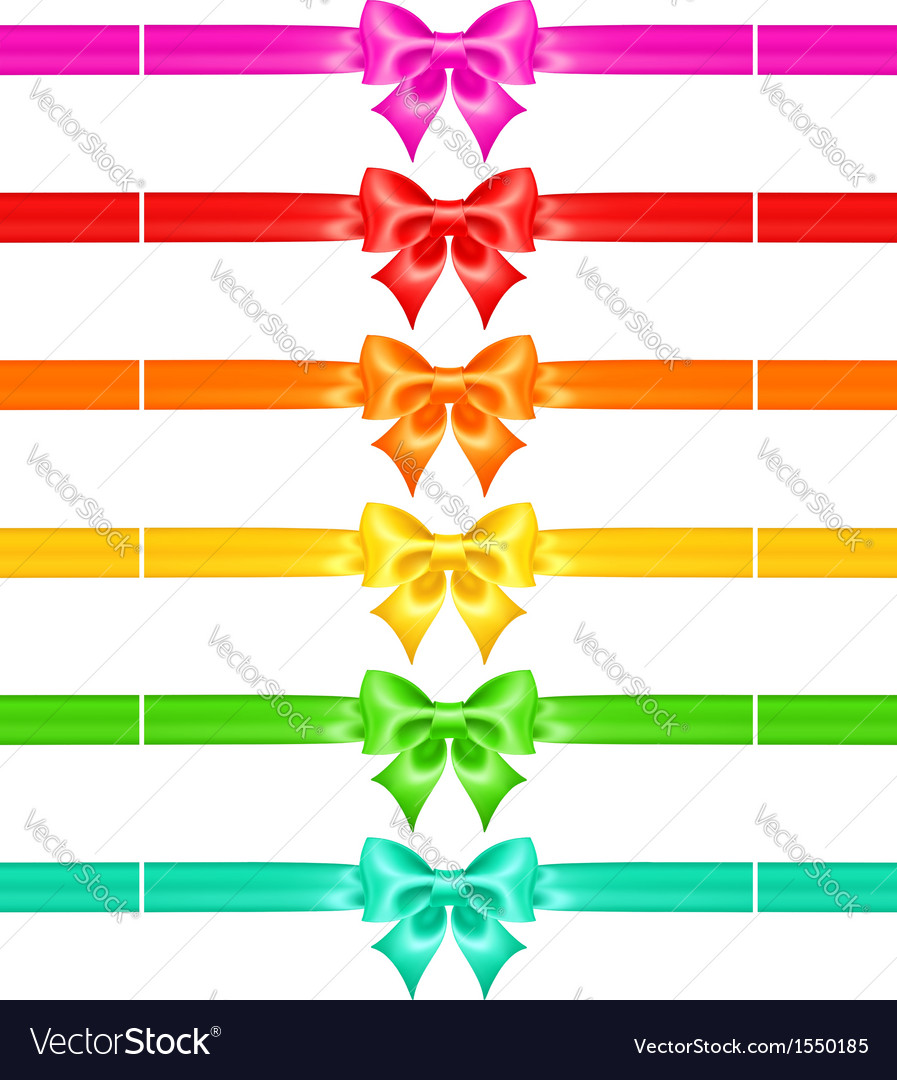 Bows with ribbons of warm colors vector | Price: 1 Credit (USD $1)
