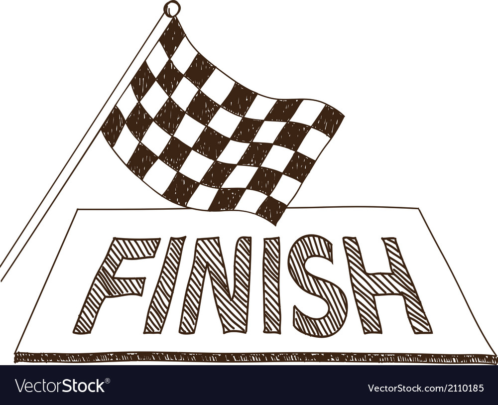 Checkered flag and finish drawing vector | Price: 1 Credit (USD $1)
