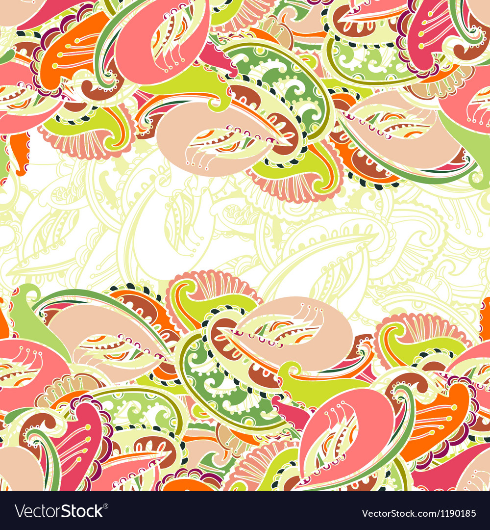 Colourful seamless indian paisley border vector | Price: 1 Credit (USD $1)