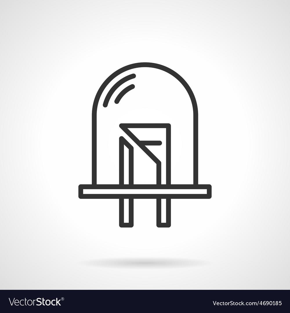 Dot diode black line icon vector | Price: 1 Credit (USD $1)
