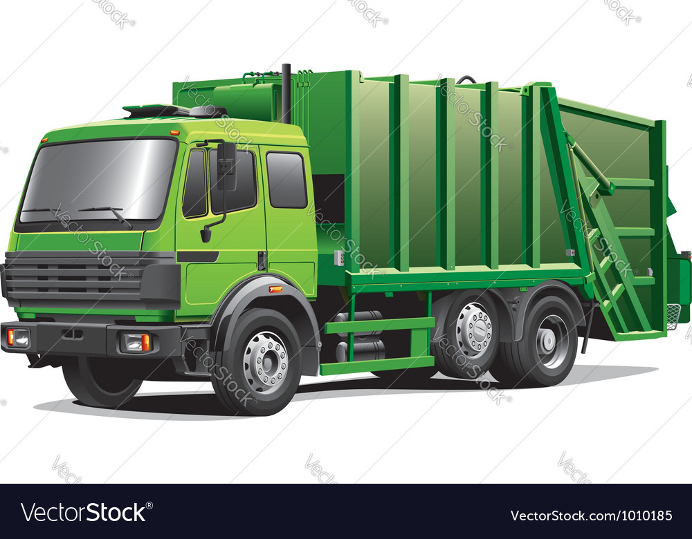 Green garbage truck vector | Price: 5 Credit (USD $5)