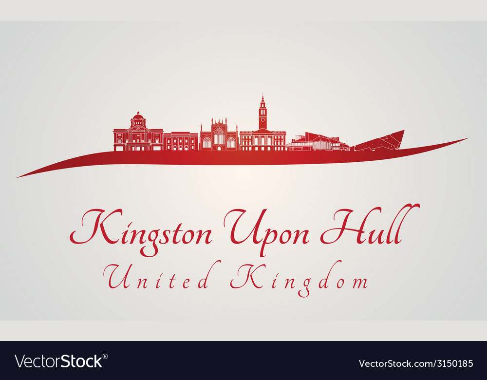 Kingston upon hull skyline in red vector | Price: 1 Credit (USD $1)