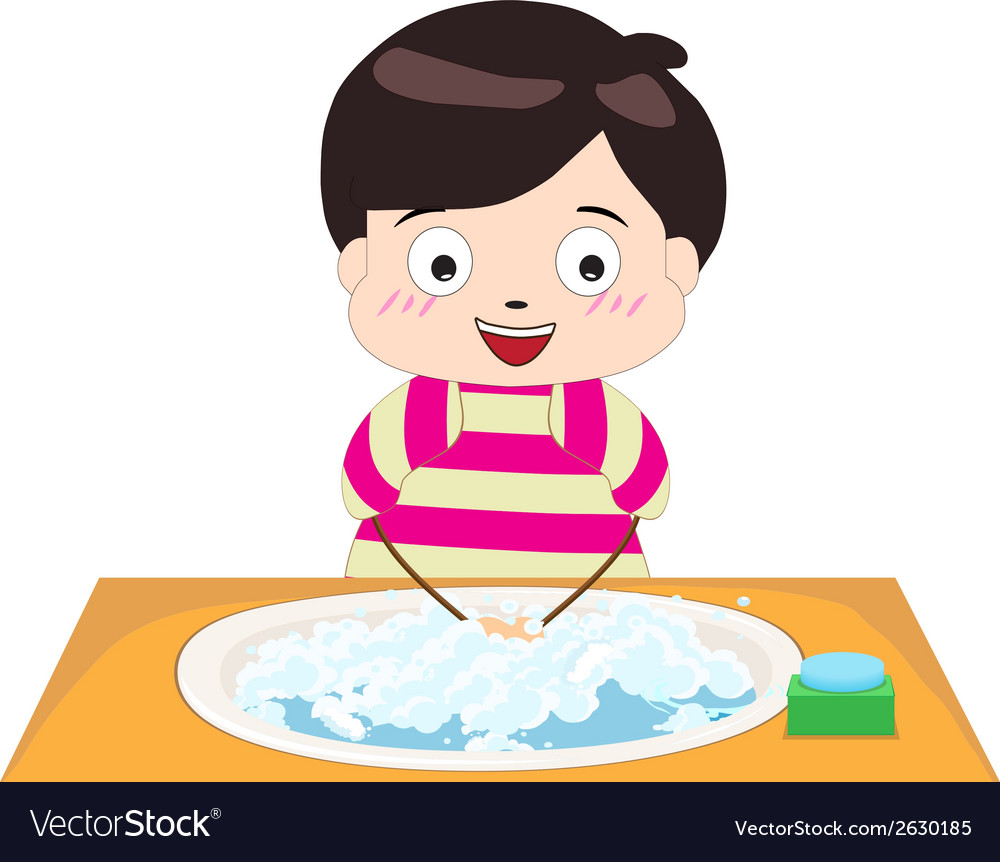 Little boy washing his hands vector | Price: 1 Credit (USD $1)