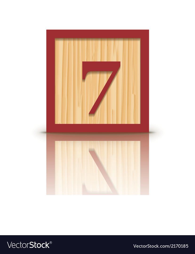 Number 7 wooden alphabet block vector | Price: 1 Credit (USD $1)
