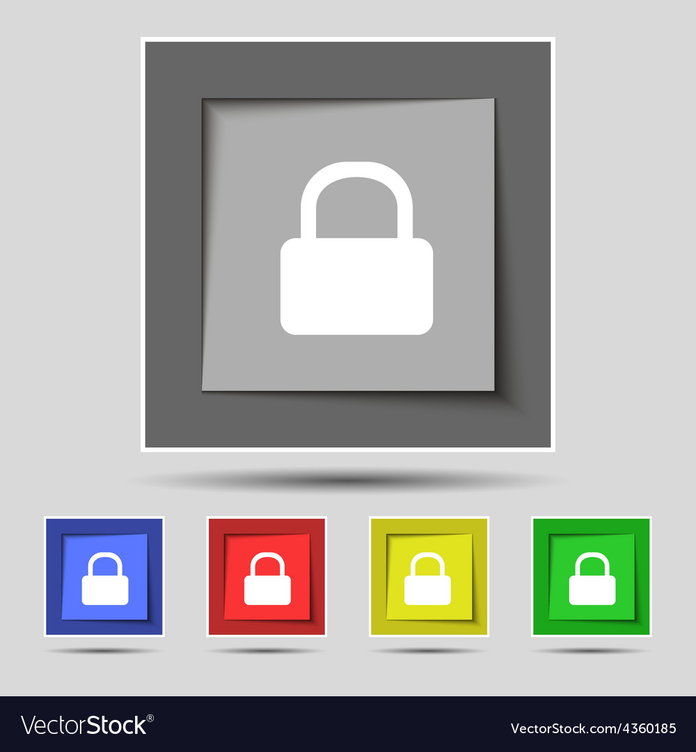 Pad lock icon sign on the original five colored vector | Price: 1 Credit (USD $1)