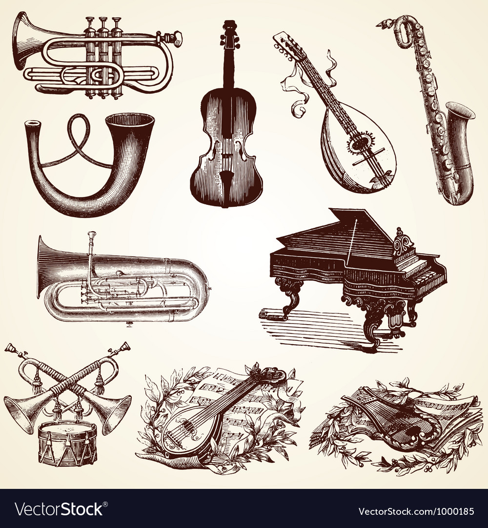 Vintage pack of musical instruments vector | Price: 1 Credit (USD $1)