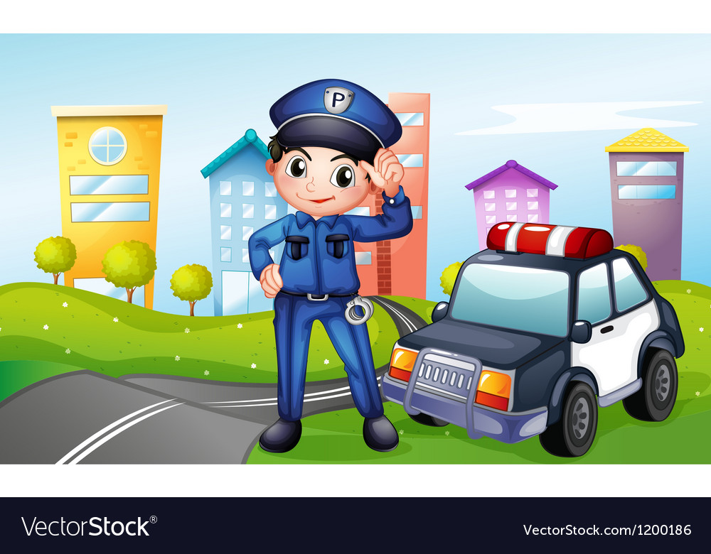 A policeman with a police car along the street vector | Price: 1 Credit (USD $1)