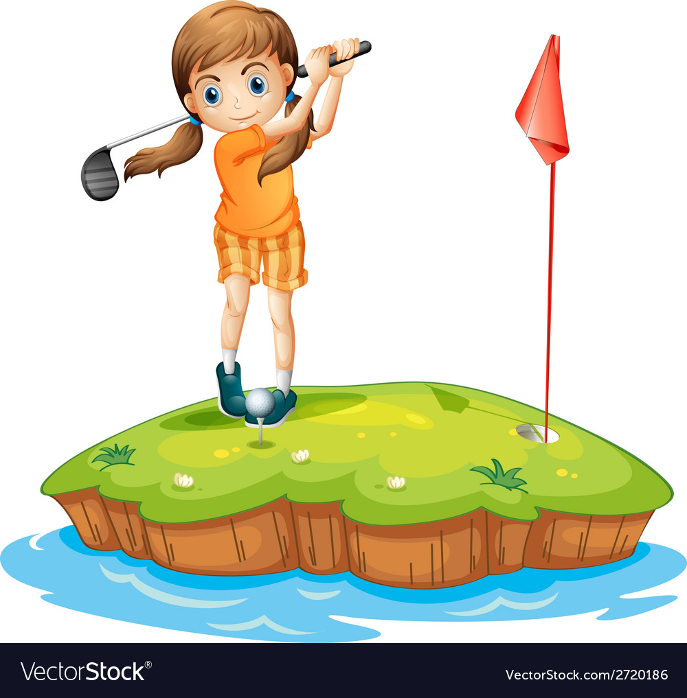 A young woman playing golf vector | Price: 1 Credit (USD $1)