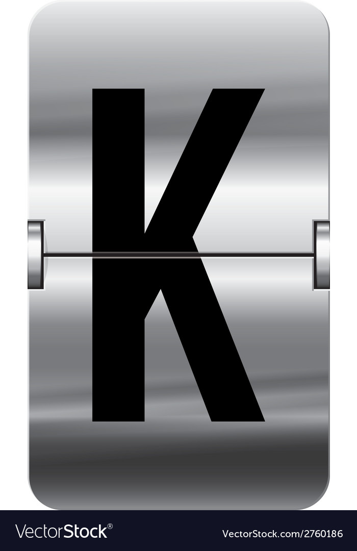 Alphabet silver flipboard letters k vector | Price: 1 Credit (USD $1)