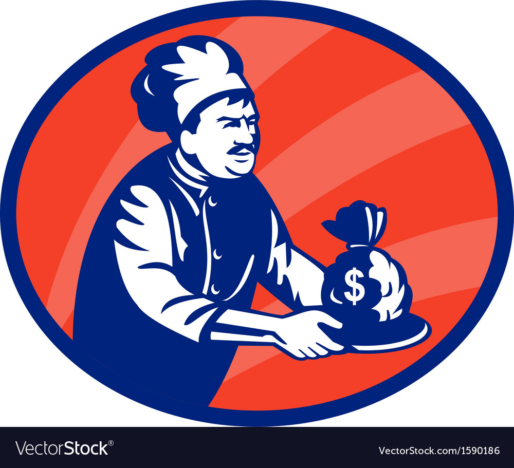 Baker chef or cook serving up bag of money vector   Price: 1 Credit (USD $1)