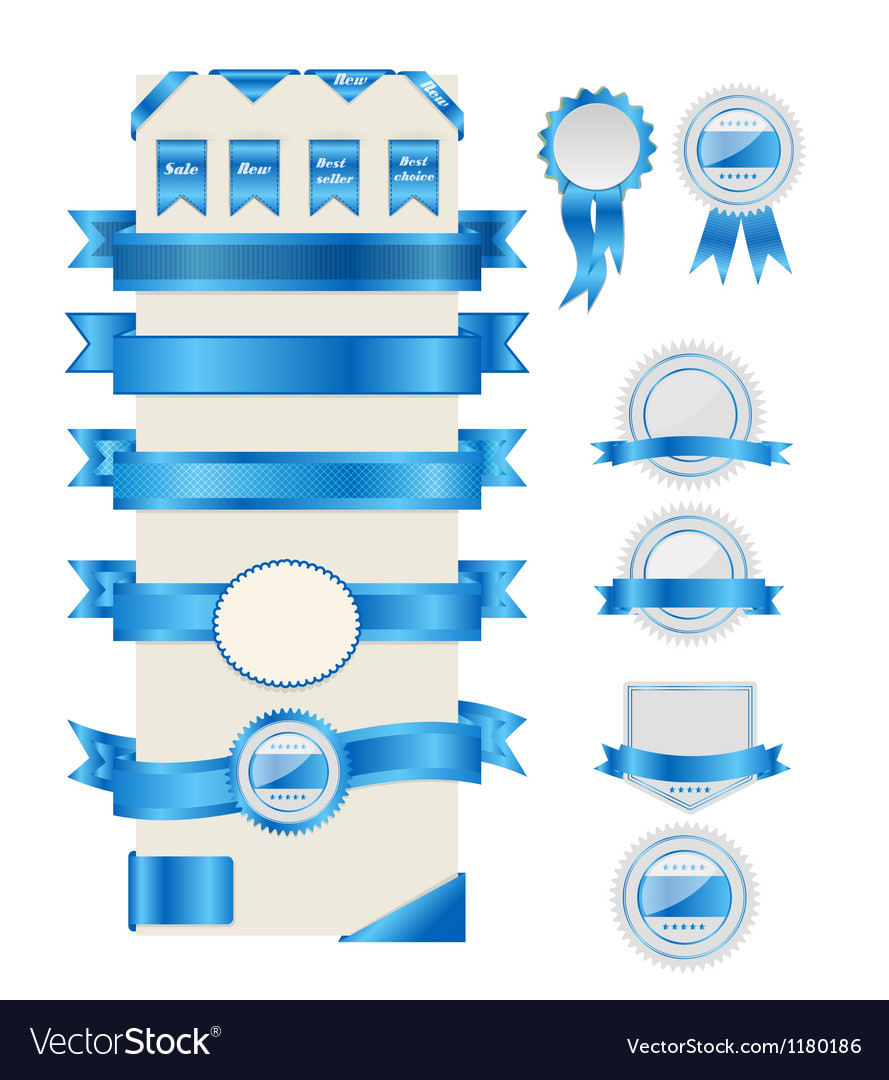 Blue ribbons and labels vector | Price: 1 Credit (USD $1)