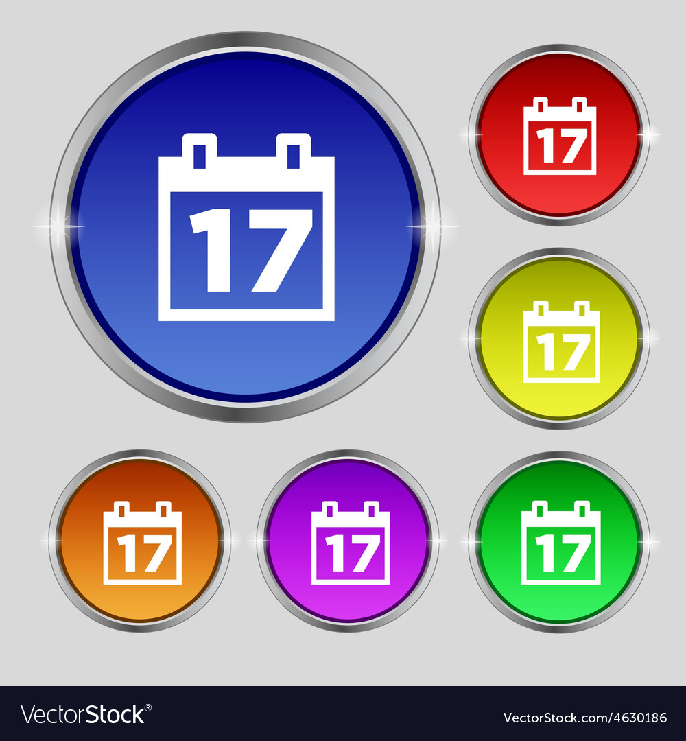 Calendar date or event reminder icon sign round vector | Price: 1 Credit (USD $1)