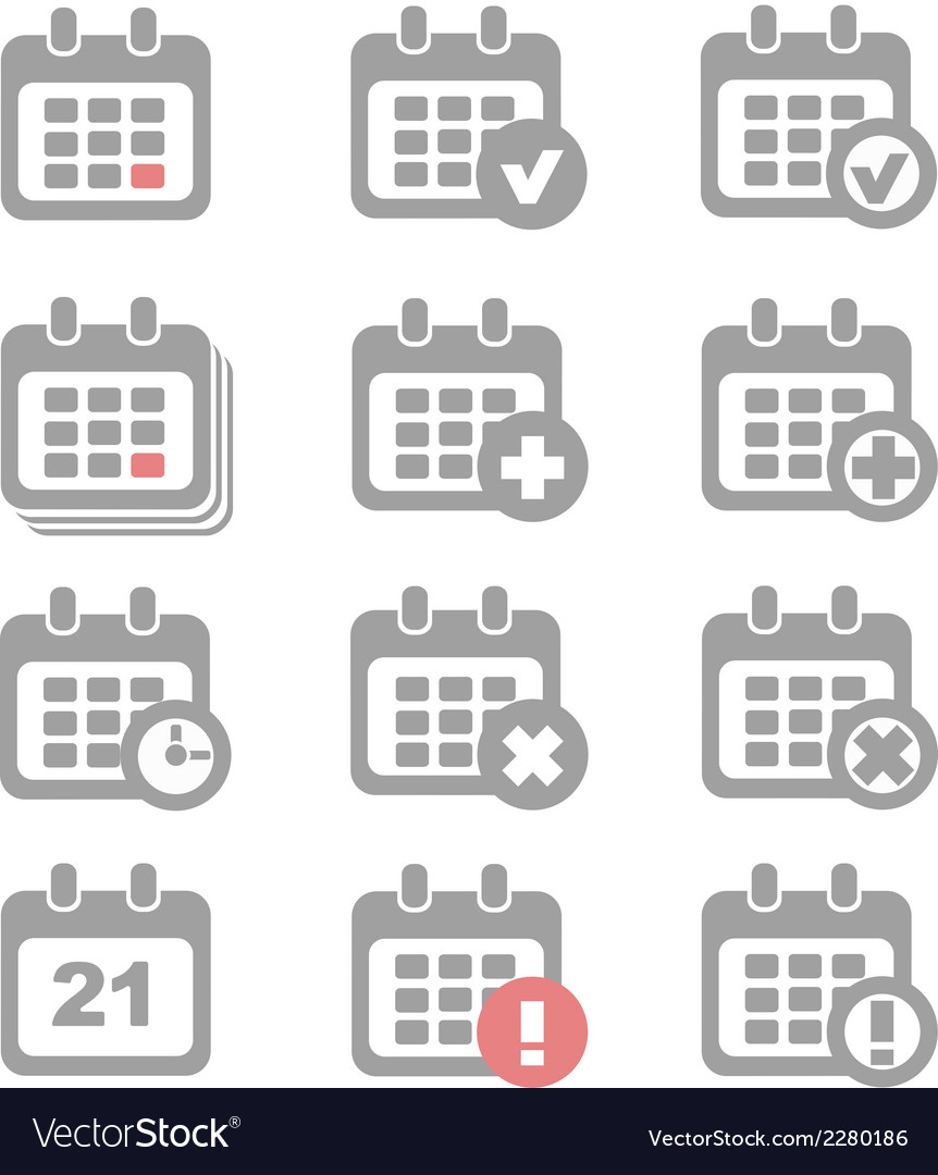 Calendar icons set vector | Price: 1 Credit (USD $1)