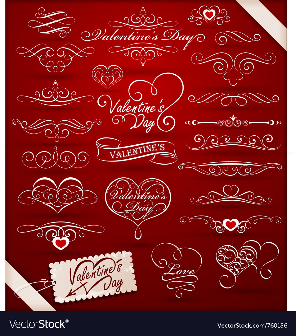 Decorative elements on valentines day vector | Price: 1 Credit (USD $1)