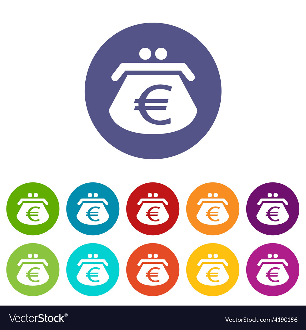 Euro purse flat icon vector | Price: 1 Credit (USD $1)