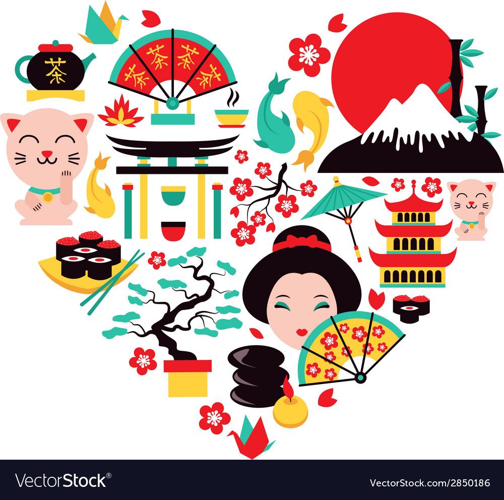 Japan symbols heart vector | Price: 1 Credit (USD $1)