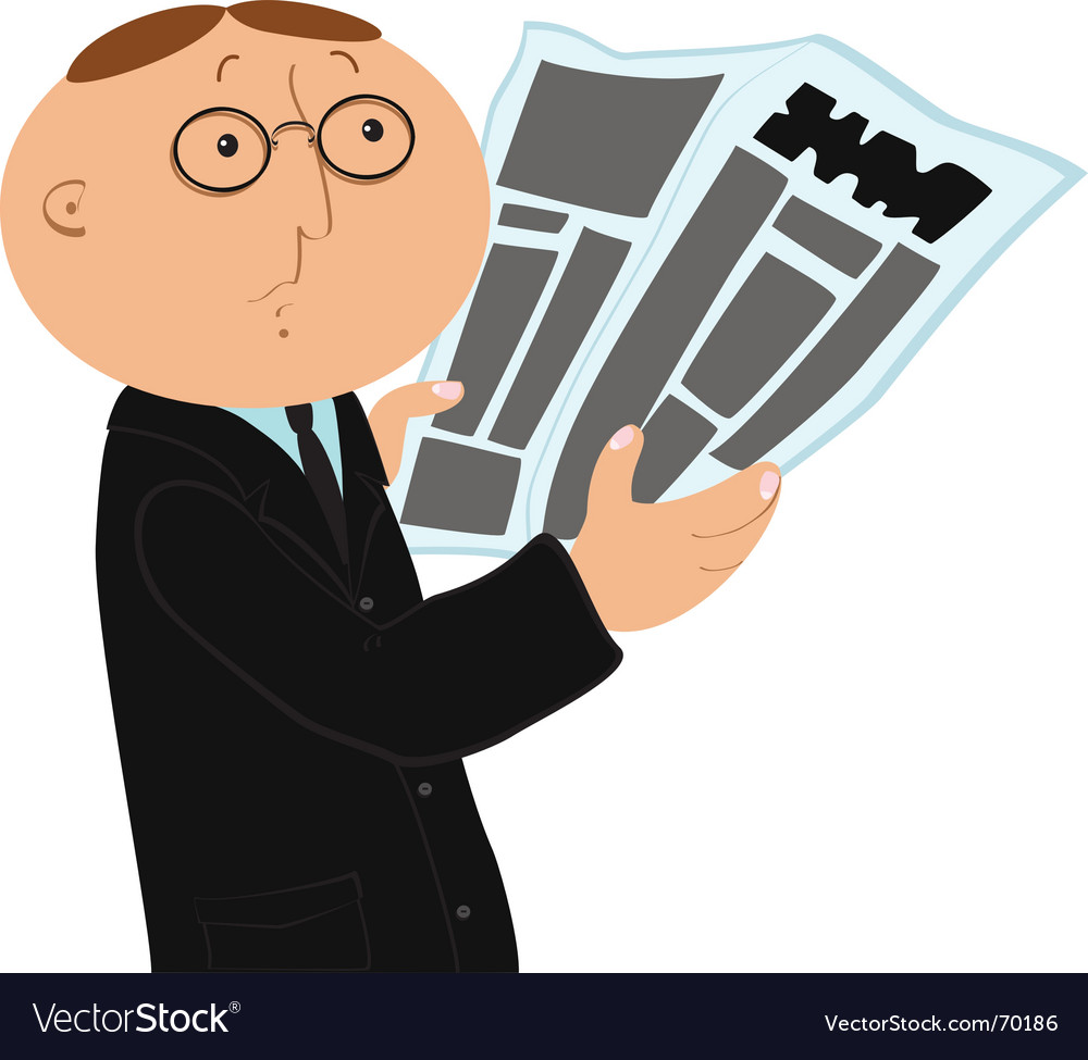 Man with newspaper vector | Price: 1 Credit (USD $1)