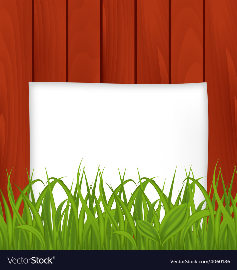 Paper sheet and green grass on wooden texture vector | Price: 1 Credit (USD $1)