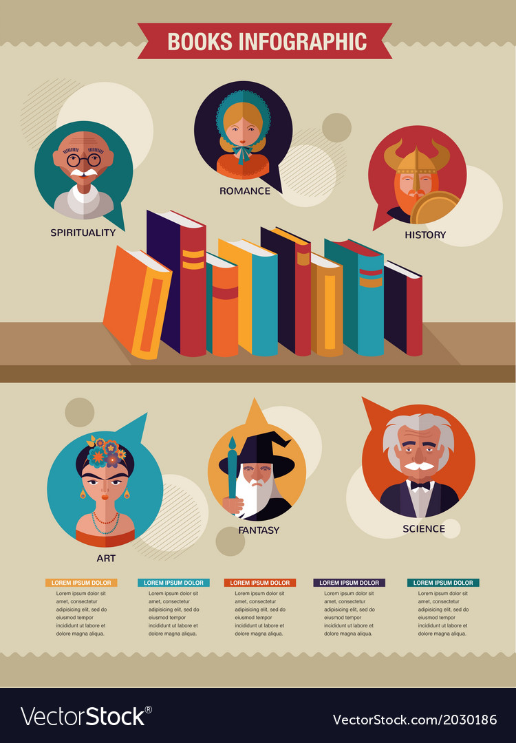 Reading books infographics set of flat icons vector | Price: 1 Credit (USD $1)