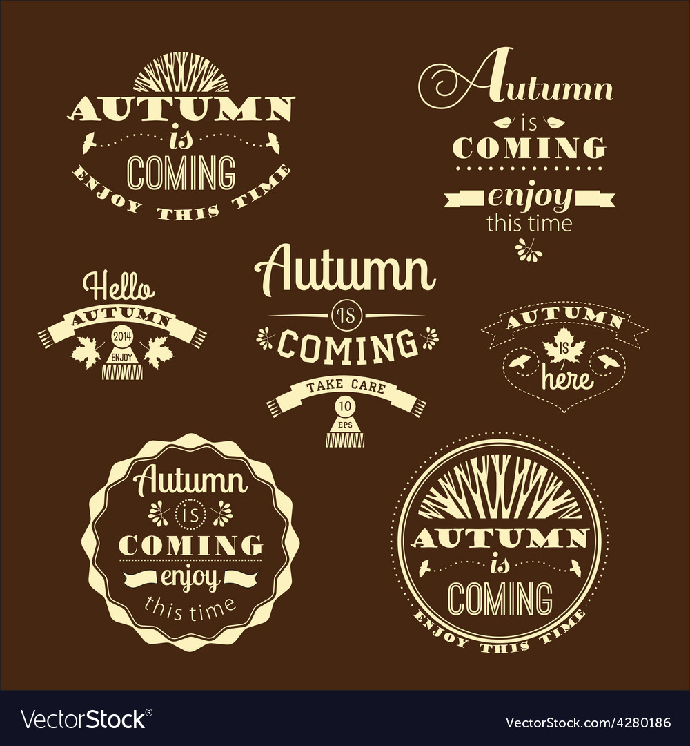 Set of autumn labels and signs vector | Price: 1 Credit (USD $1)