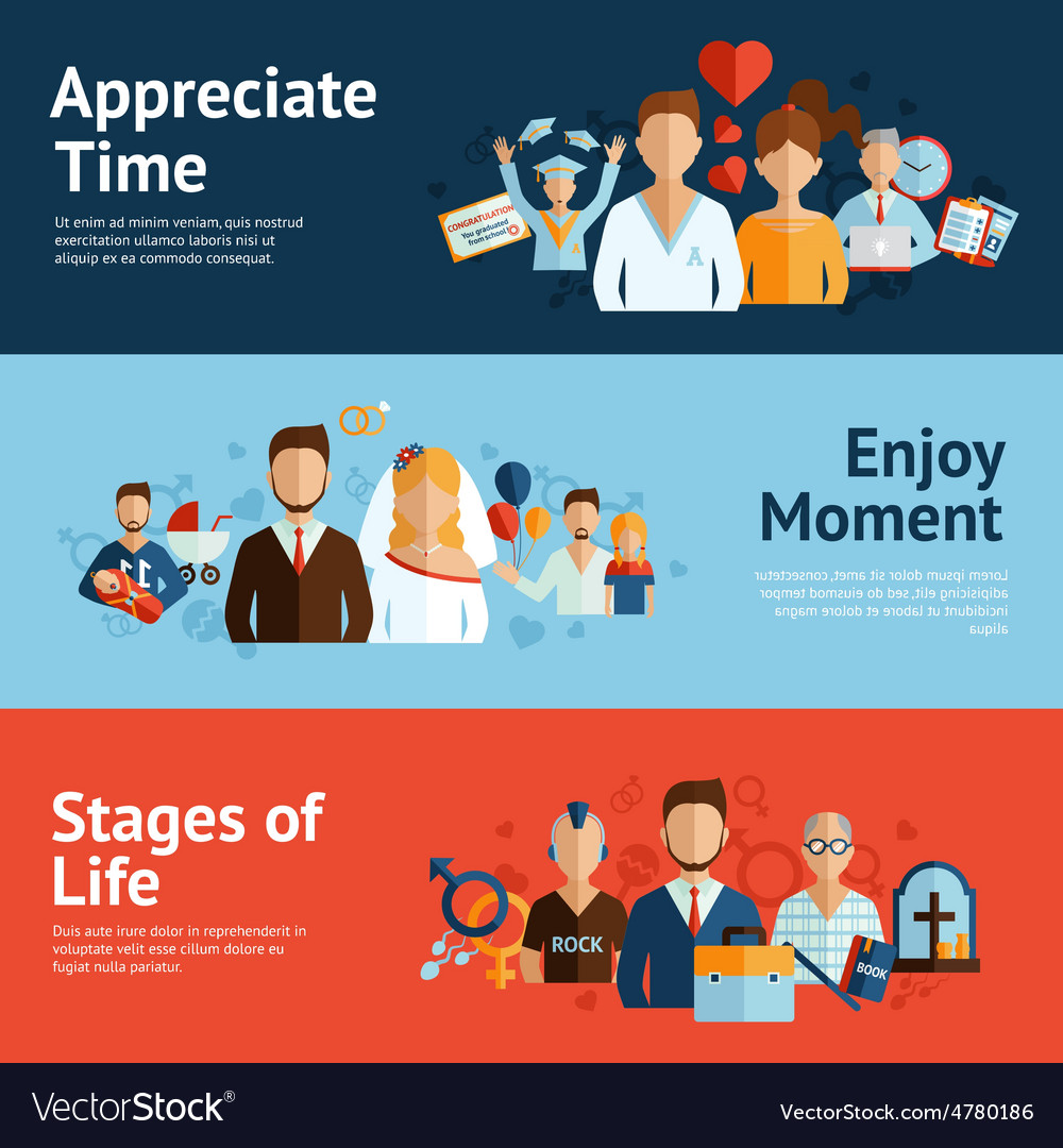 Stages of life concept banners set vector | Price: 3 Credit (USD $3)
