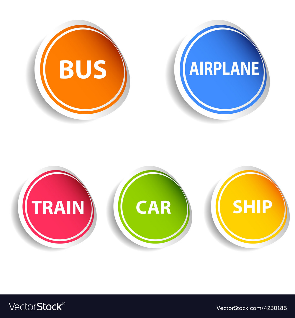 Sticker with transport set color vector | Price: 1 Credit (USD $1)