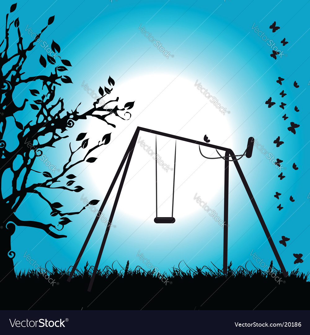 Tree silhouette swing on meadow vector   Price: 1 Credit (USD $1)