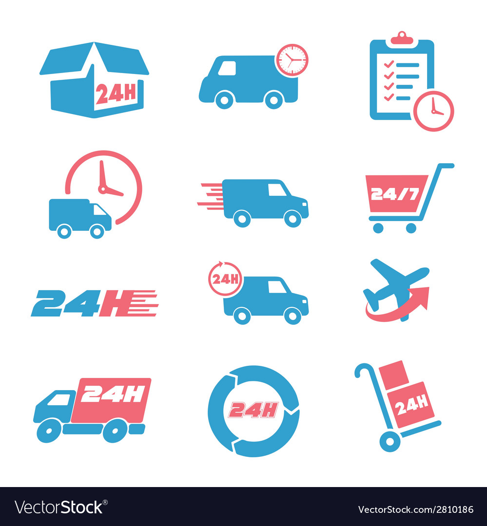 Various postage and support related icon set vector | Price: 1 Credit (USD $1)