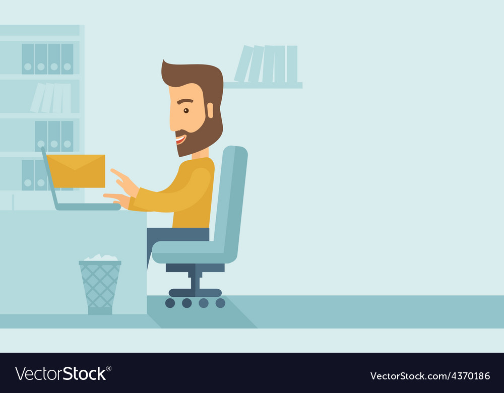 Young man sitting infront of a computer laptop vector | Price: 1 Credit (USD $1)