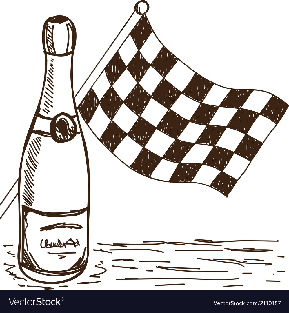 Checkered flag and champagne drawing vector | Price: 1 Credit (USD $1)