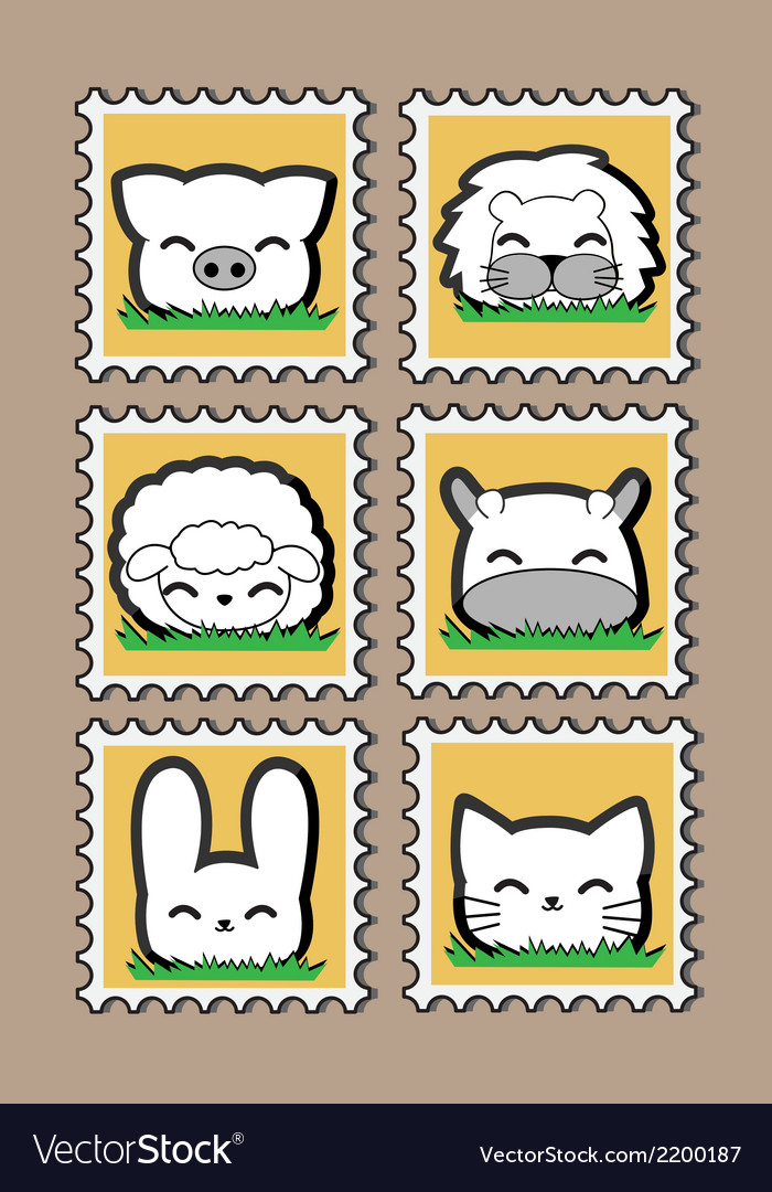 Cute little animal stamp set vector | Price: 1 Credit (USD $1)
