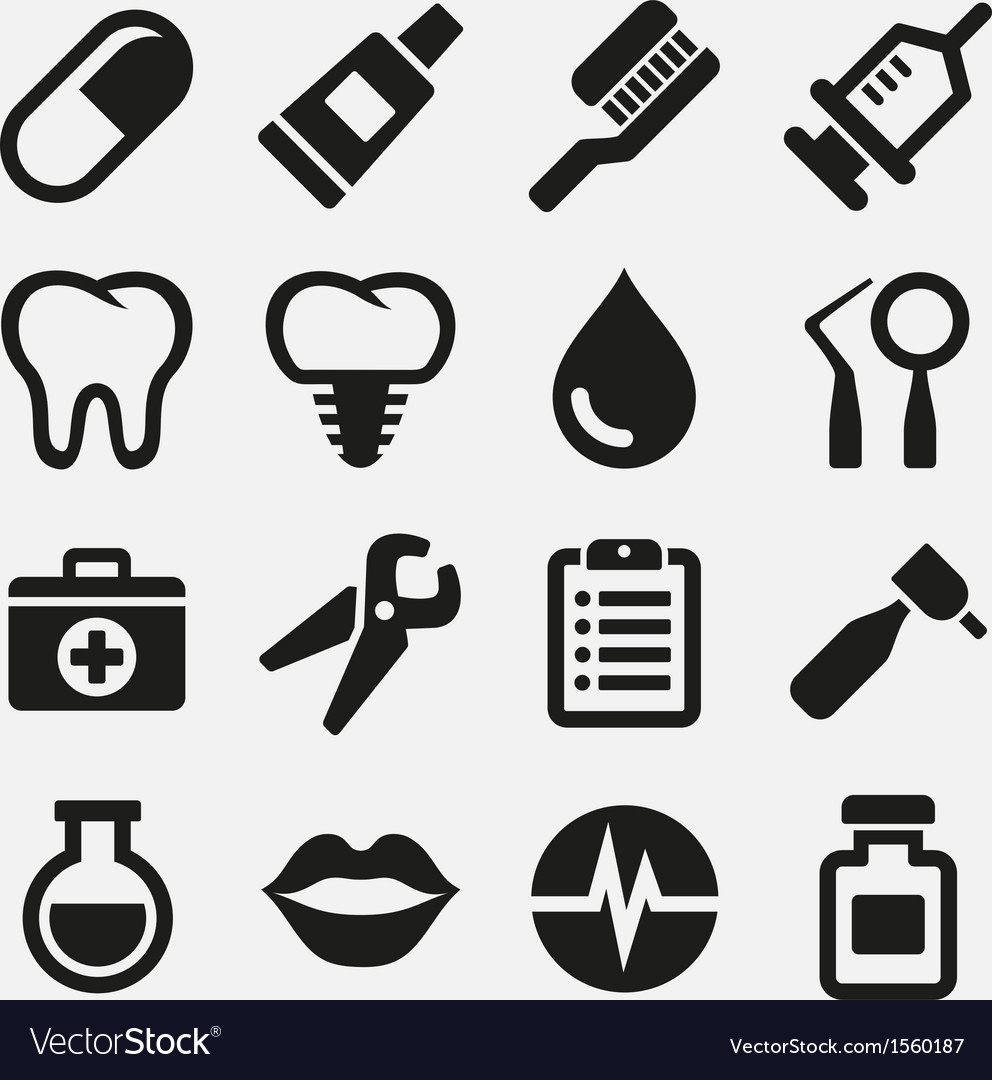 Dental icons set vector | Price: 3 Credit (USD $3)
