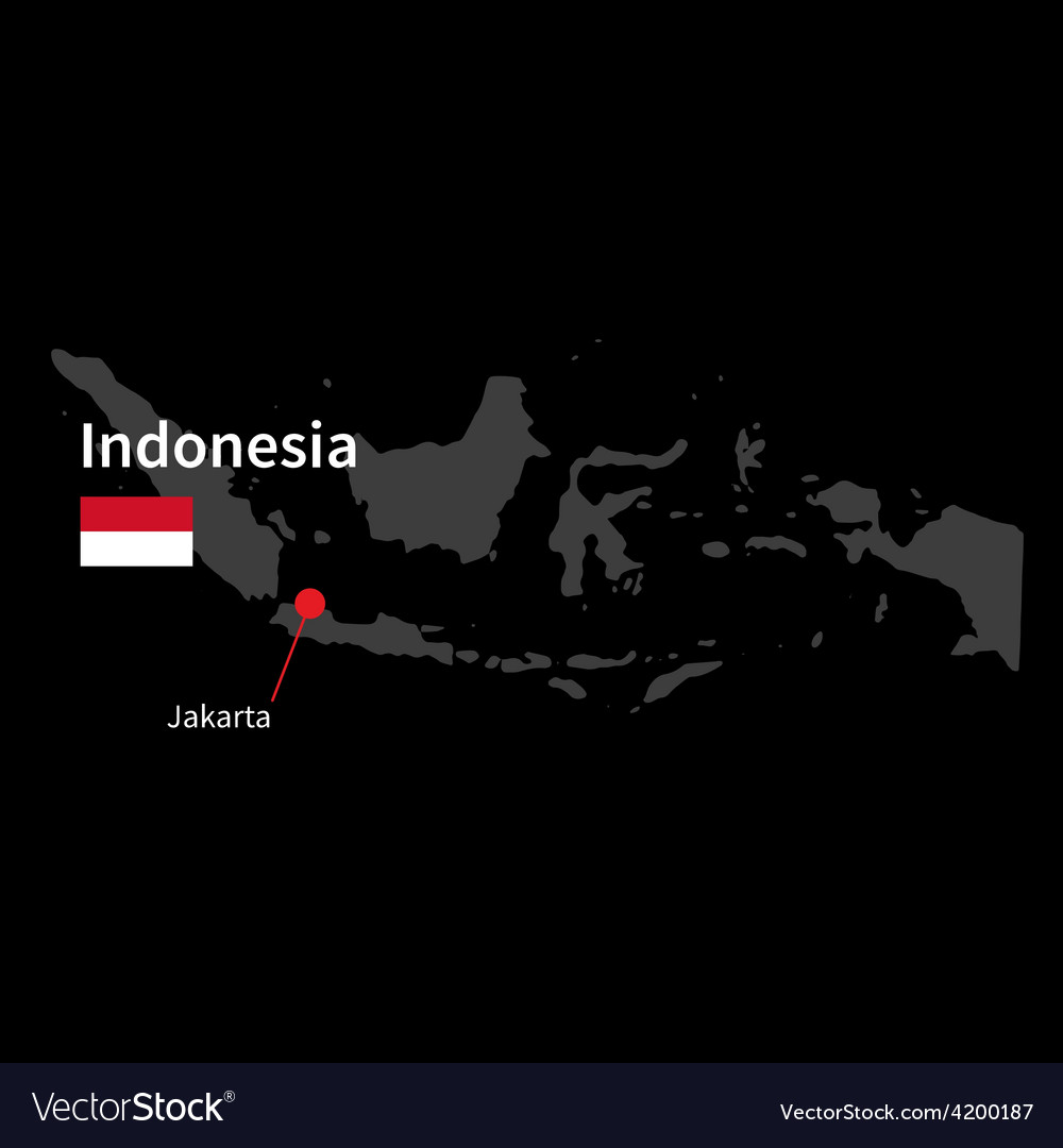 Detailed map of indonesia and capital city jakarta vector | Price: 1 Credit (USD $1)