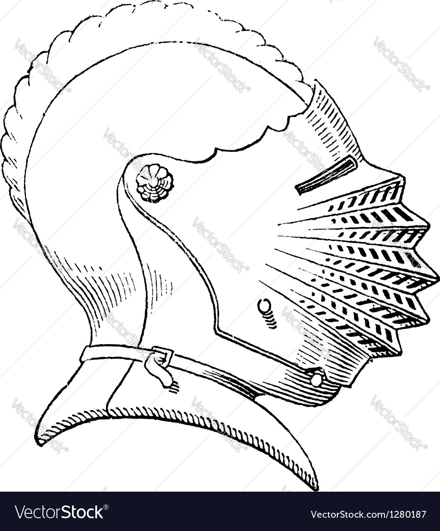 Fifteenth century helmet engraving vector | Price: 1 Credit (USD $1)