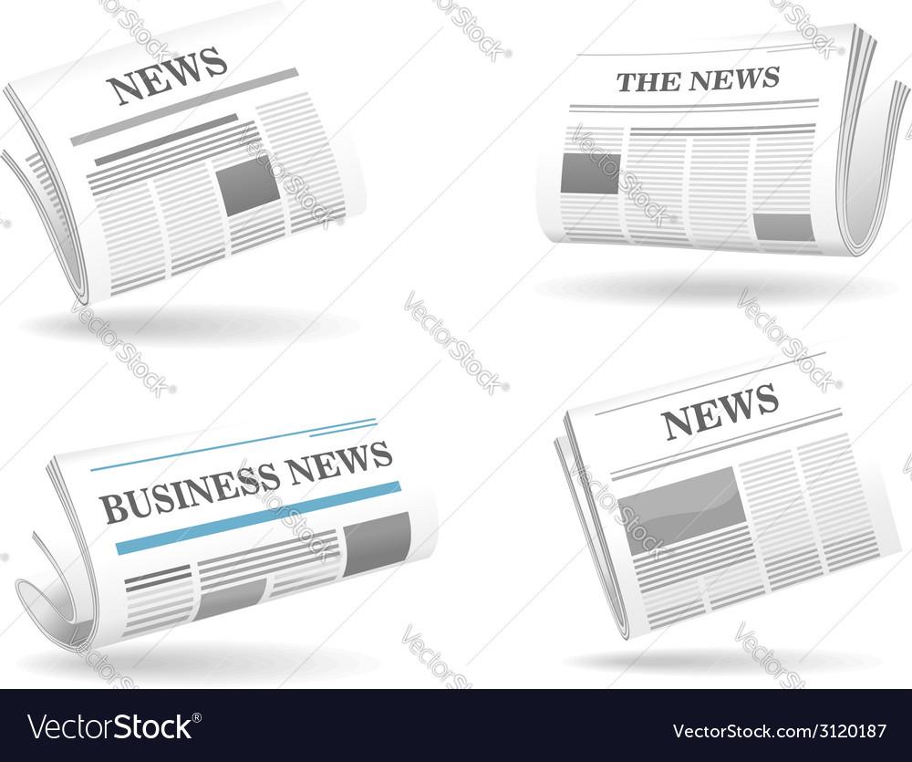 Folded newspaper icons vector