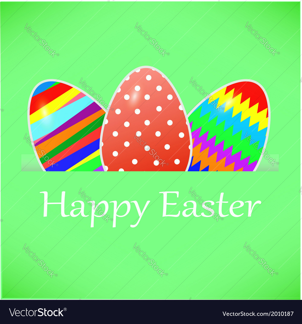 Green paper card with striped easter eggs vector | Price: 1 Credit (USD $1)