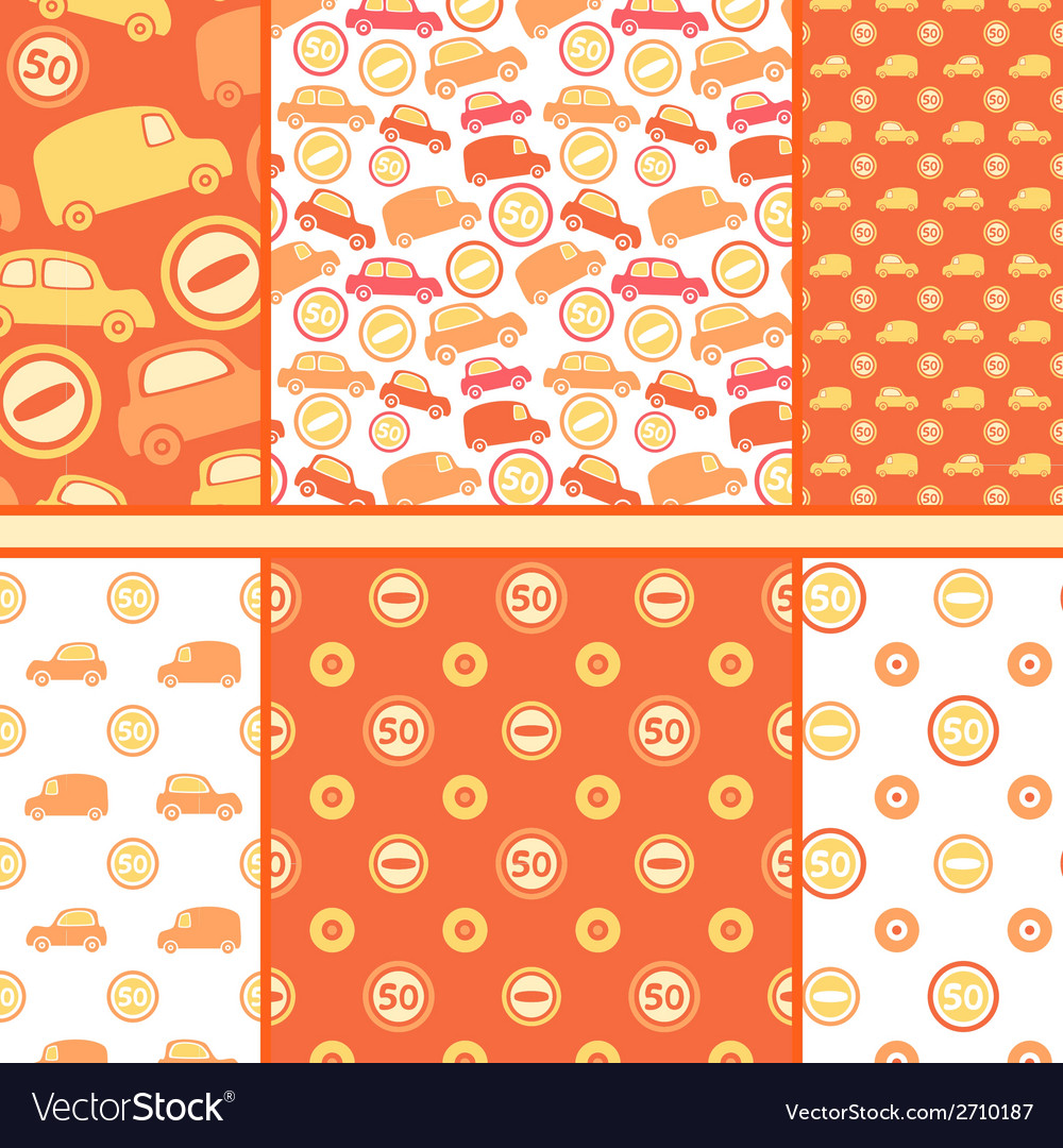 Set of seamless toy cars patterns - orange pattern vector | Price: 1 Credit (USD $1)