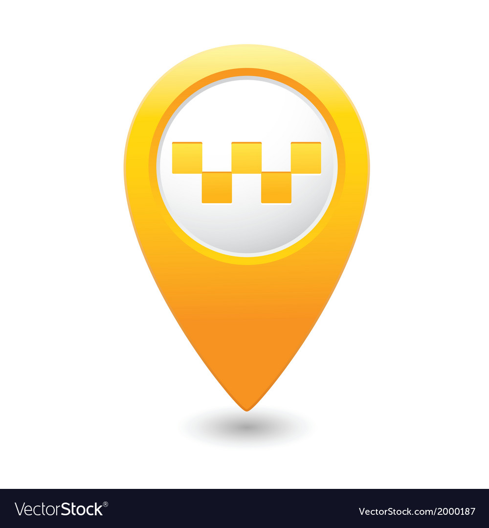 Taxi icon yellow map pointer vector | Price: 1 Credit (USD $1)